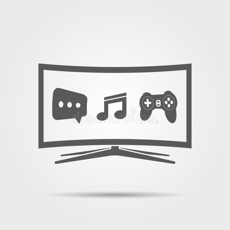 Icono elegante curvado de la TV ilustración del vector