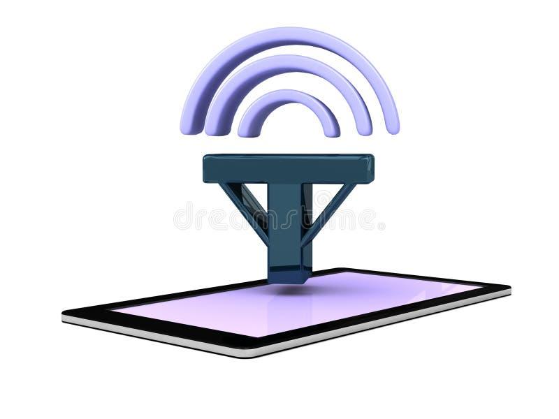 Icono elegante de la señal de la red del teléfono móvil del teléfono ilustración del vector