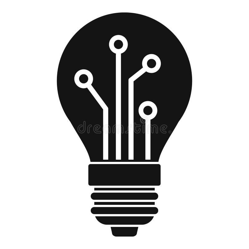 Icono elegante del ai del bulbo, estilo simple ilustración del vector