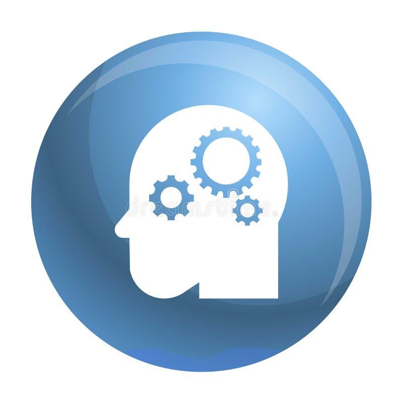 Icono elegante del engranaje de la mente, estilo simple stock de ilustración