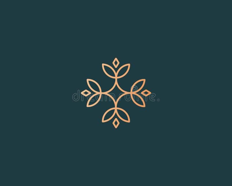 Icono elegante del logotipo de la flor Logotipo superior creativo universal Línea abstracta muestra del vector ilustración del vector