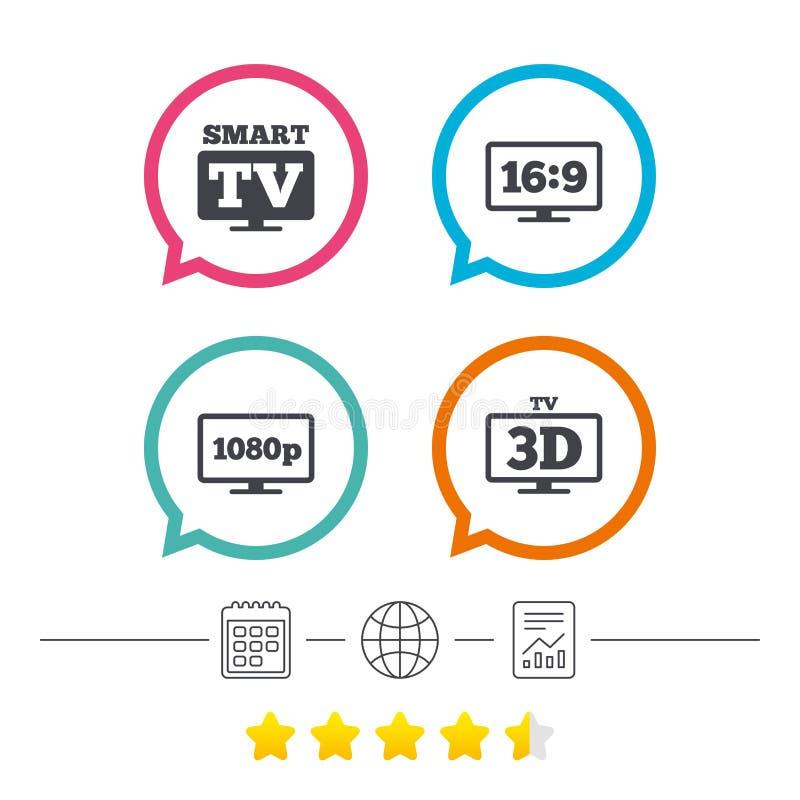 Icono elegante del modo de la TV símbolo de la televisión 3D ilustración del vector