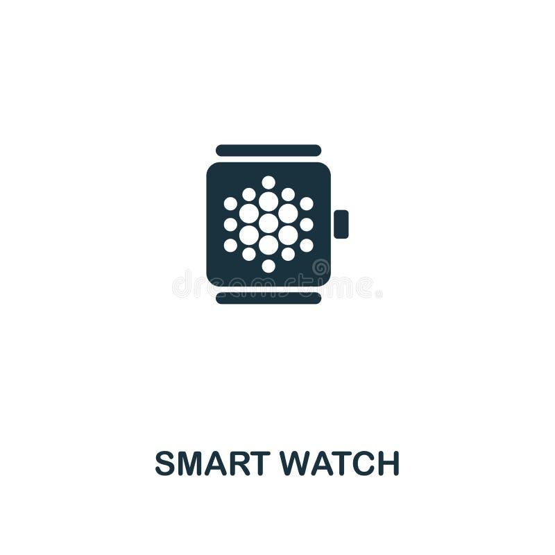 Icono elegante del reloj Diseño monocromático del icono del estilo de la colección elegante del icono de los dispositivos Ui Ejem ilustración del vector
