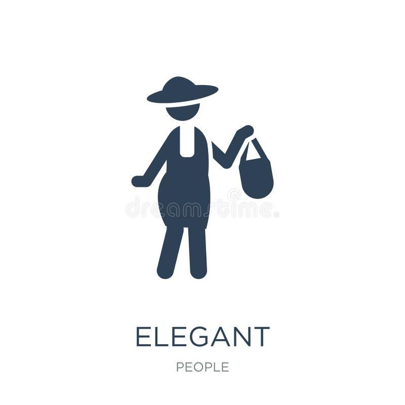 icono elegante en estilo de moda del diseño icono elegante aislado en el fondo blanco símbolo plano simple y moderno del icono el libre illustration