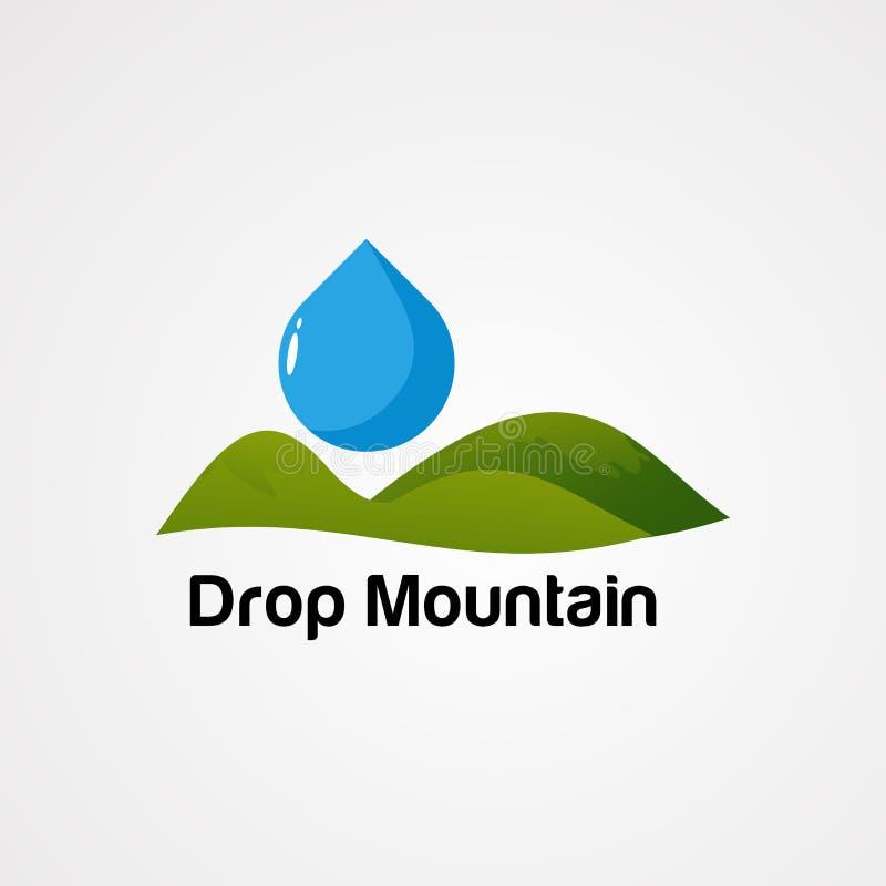 Icono, elemento, y plantilla verdes del vector del logotipo de la montaña del descenso para la compañía libre illustration