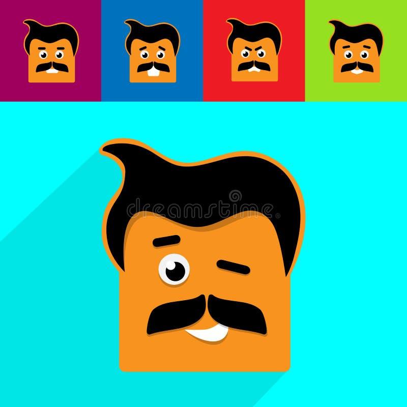 Icono emocional de la gente Diversas emociones Ilustración del vector ilustración del vector
