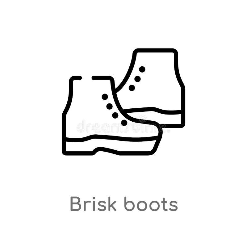 icono enérgico del vector de las botas del esquema línea simple negra aislada ejemplo del elemento del concepto de la ropa Movimi stock de ilustración