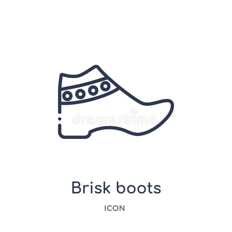 Icono enérgico linear de las botas de la colección del esquema de la ropa Línea fina vector enérgico de las botas aislado en el f stock de ilustración
