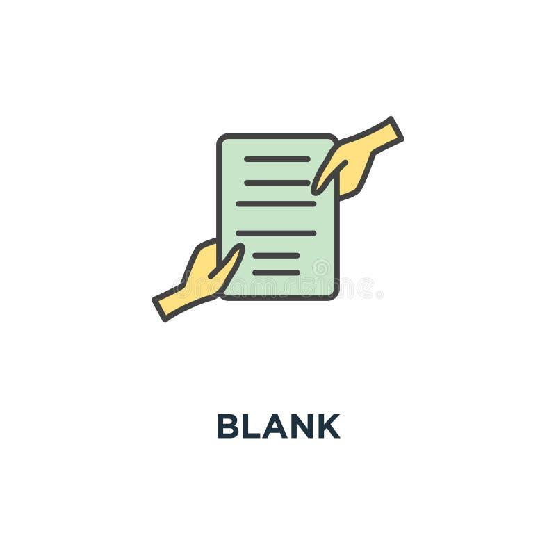 Icono en blanco documento con el sello que es llevado a cabo por dos manos de las personas a la vez, la transferencia de las dere libre illustration