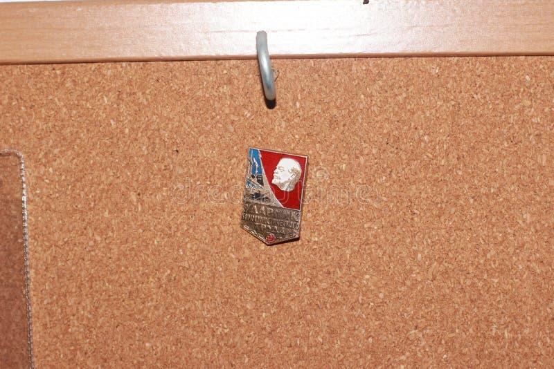 Icono en el tablero Comunismo en la textura del corcho imágenes de archivo libres de regalías