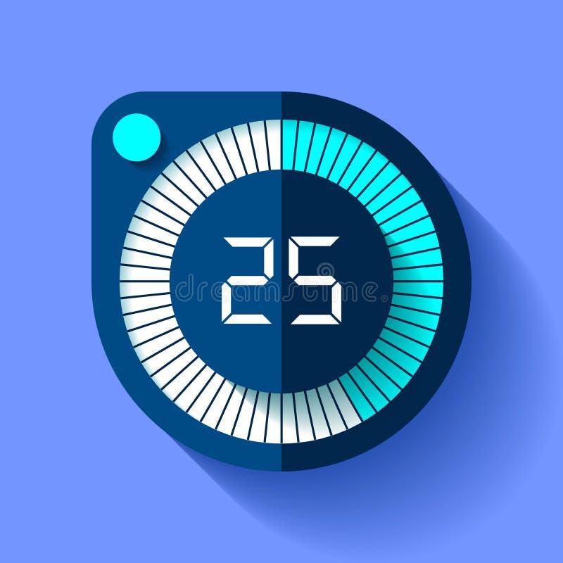 Icono en estilo plano, contador de tiempo redondo del cronómetro en fondo del color Reloj del deporte 25 segundos Elemento del di ilustración del vector