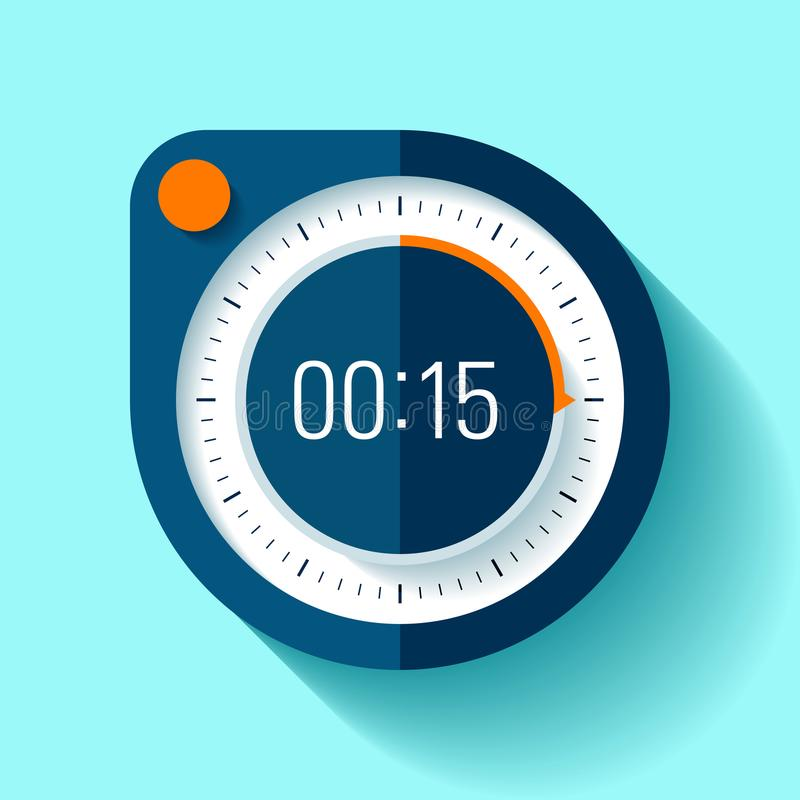 Icono en estilo plano, contador de tiempo redondo del cronómetro en fondo del color 15 segundos Reloj del deporte Elemento del di stock de ilustración