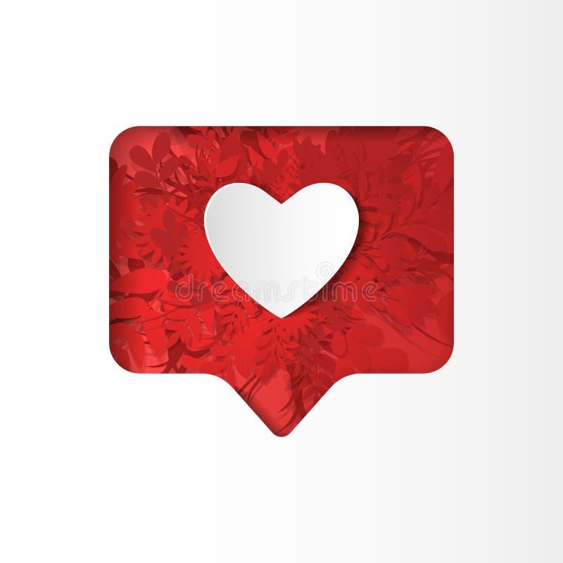 Icono en forma de corazón como en estilo del corte del papel ilustración del vector