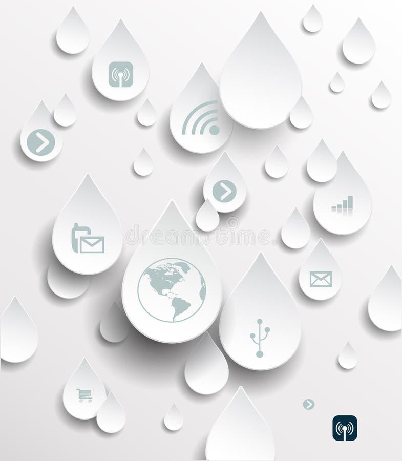 Icono en gotas de lluvia Concepto computacional de la nube ilustración del vector
