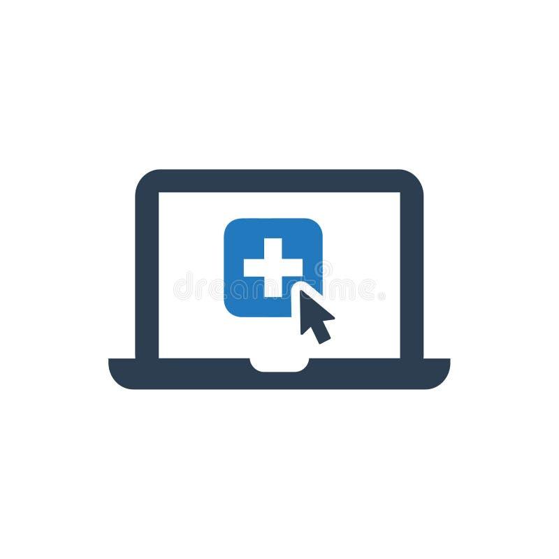 Icono en línea de la atención sanitaria stock de ilustración