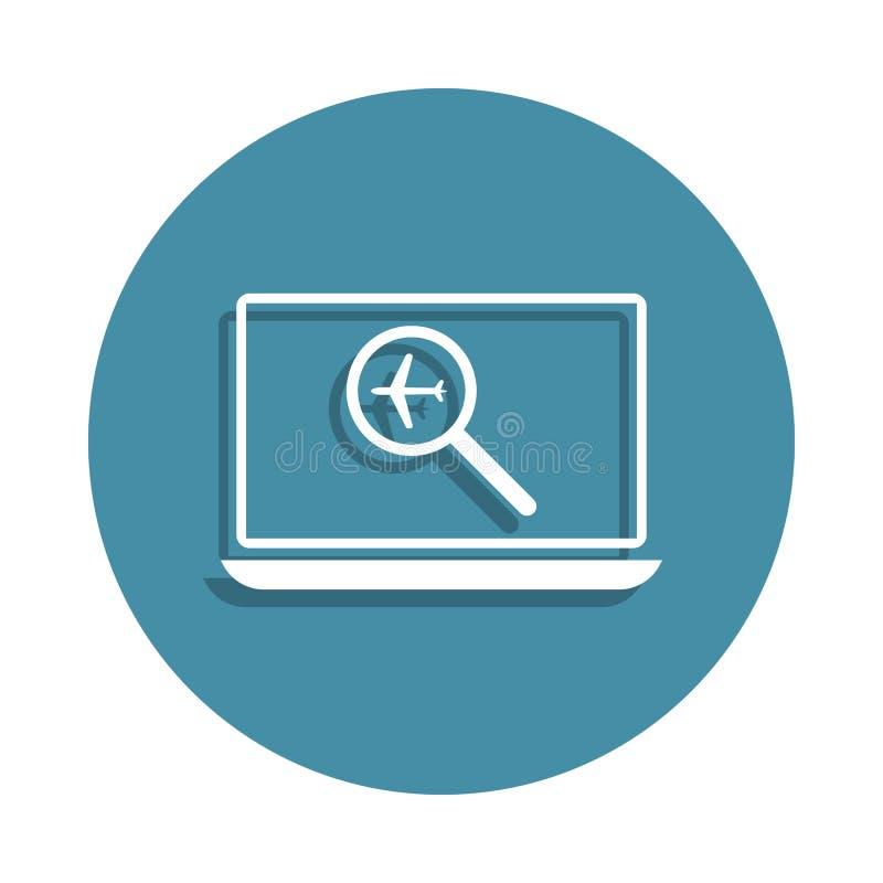 icono en línea de la búsqueda del vuelo en estilo de la insignia Uno del icono de la colección del aeropuerto se puede utilizar p ilustración del vector