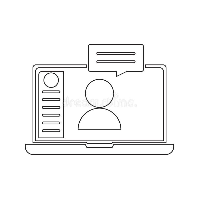 icono en línea de la comunicación Elemento de la seguridad cibernética para el concepto y el icono móviles de los apps de la web  stock de ilustración