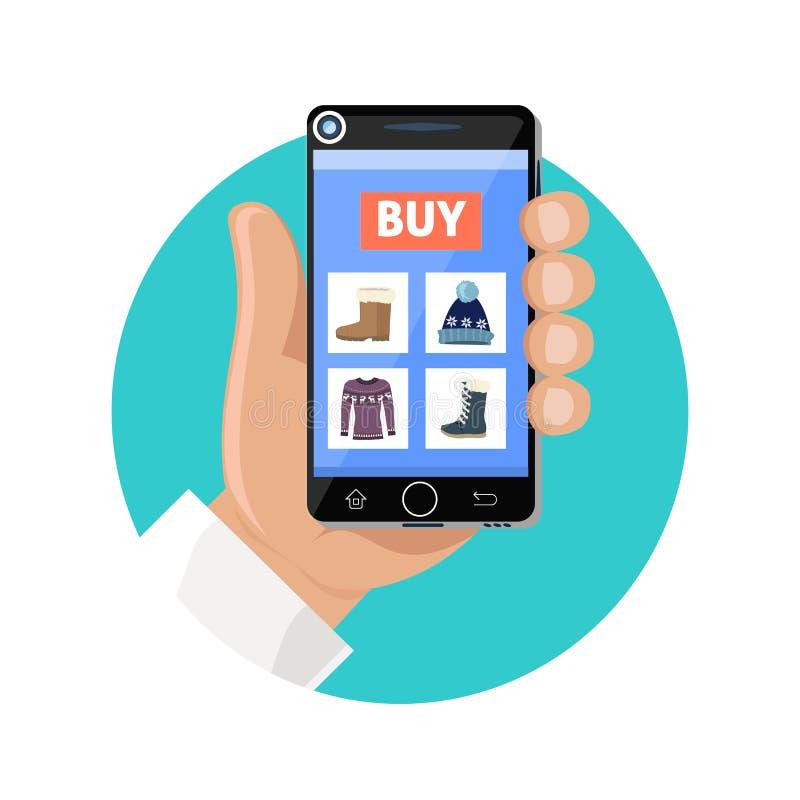 Icono en línea de la tienda plano Venta y compra stock de ilustración