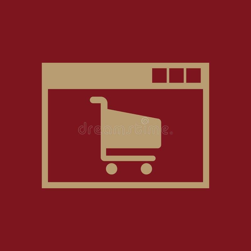 Icono en línea de las compras Diseño del vector comercio electrónico, símbolo que hace compras web gráfico jpg ai app LOGOTIPO ob ilustración del vector