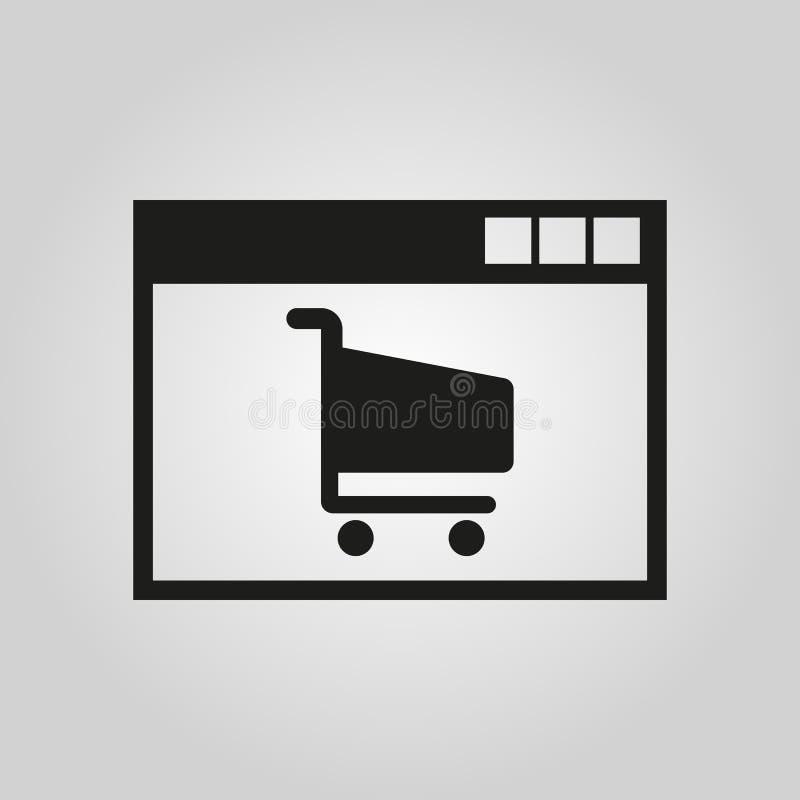 Icono en línea de las compras Diseño del vector símbolo del comercio electrónico web gráfico jpg ai app LOGOTIPO objeto plano ima ilustración del vector