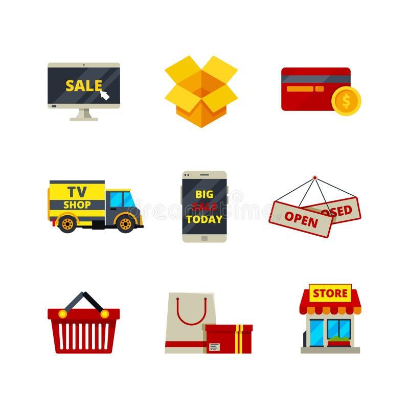 Icono en línea de las compras Servicios de los productos de las ventas del símbolo del ordenador del comercio electrónico de la t stock de ilustración