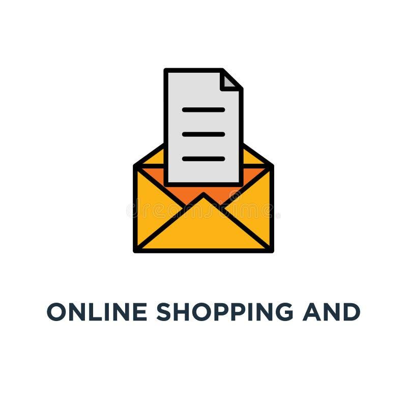 icono en línea de las compras y de la estrategia de marketing resto abandonado del correo electrónico del carro, promoción que of stock de ilustración