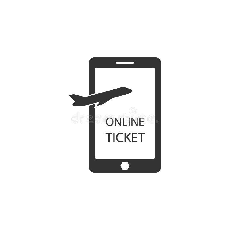 Icono en línea de los boletos Elemento del icono del aeropuerto para los apps móviles del concepto y de la web El icono en línea  ilustración del vector