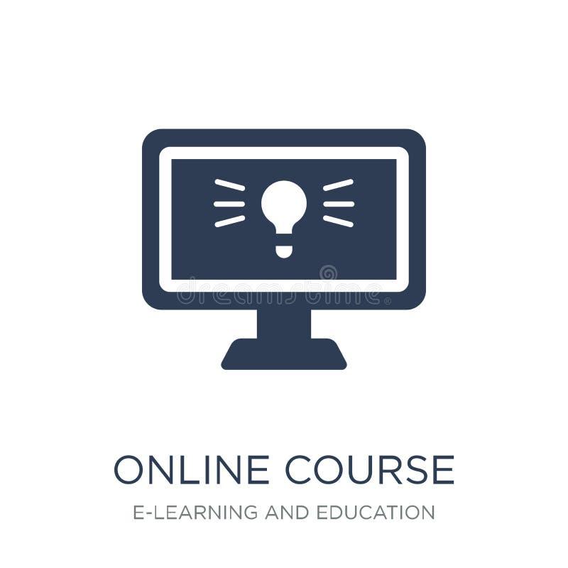 Icono en línea del curso Icono en línea del curso del vector plano de moda en whi stock de ilustración
