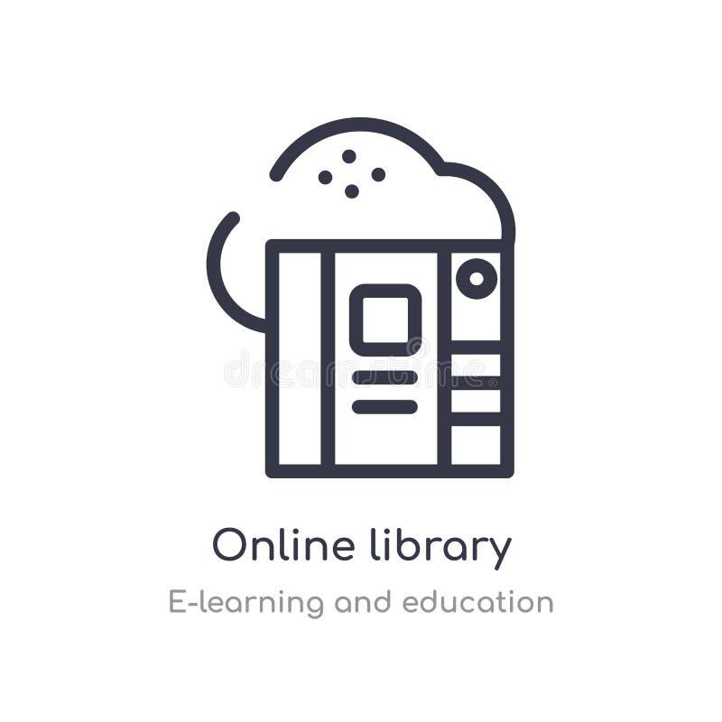icono en línea del esquema de la biblioteca l?nea aislada ejemplo del vector de la colecci?n del aprendizaje electr?nico y de la  ilustración del vector