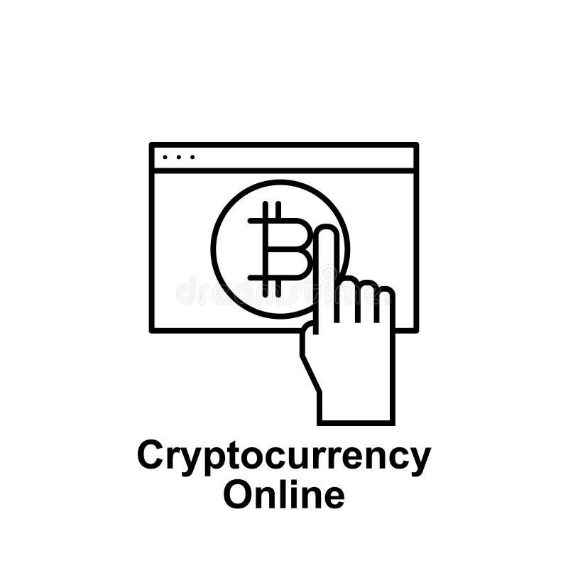 Icono en línea del esquema de la página web de Bitcoin Elemento de los iconos del ejemplo del bitcoin Las muestras y los símbolos libre illustration