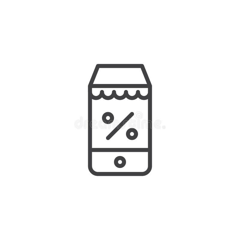 Icono en línea del esquema del discount libre illustration