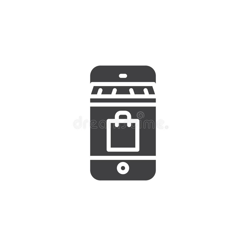 Icono en línea del vector de las compras stock de ilustración