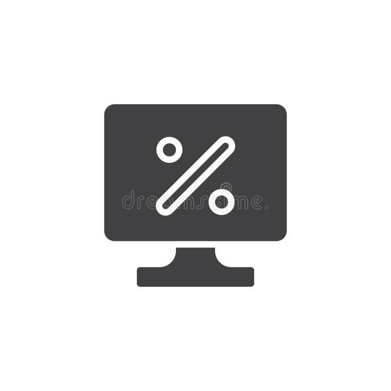 Icono en línea del vector del discount stock de ilustración