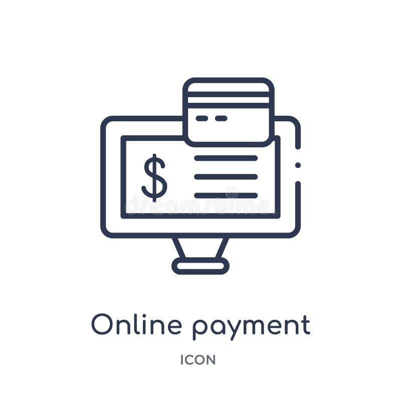 Icono en línea linear del pago de la colección del esquema del negocio y del analytics Línea fina vector en línea del pago aislad libre illustration