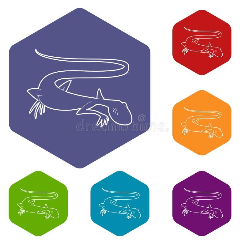 Icono en?rgico del lagarto, estilo del esquema stock de ilustración