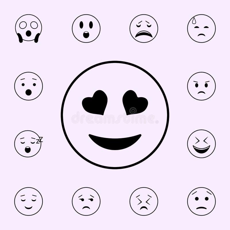 icono enamorado Sistema universal de los iconos de Emoji para la web y el m?vil ilustración del vector