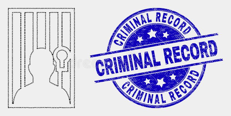 Icono encarcelado pixel de la persona del vector y sello rasguñado de los antecedentes penales libre illustration