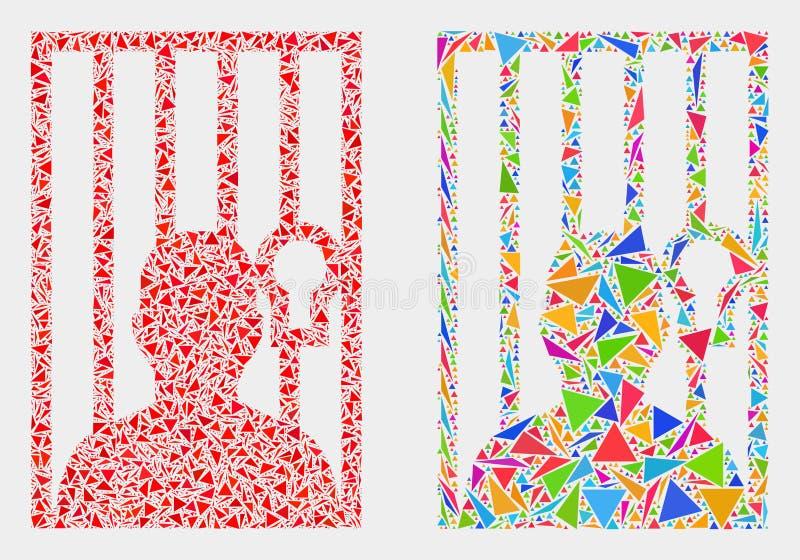 Icono encarcelado vector del mosaico de la persona de los artículos del triángulo libre illustration