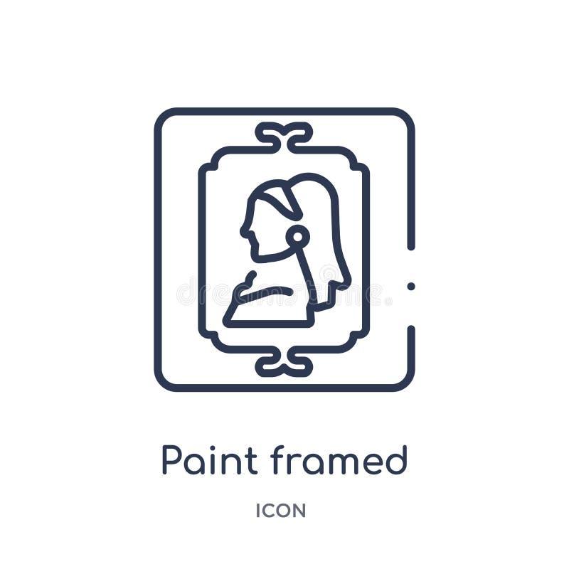 Icono enmarcado pintura linear de la colección del esquema del arte y del diseño La línea fina pintura enmarcó el icono aislado e stock de ilustración