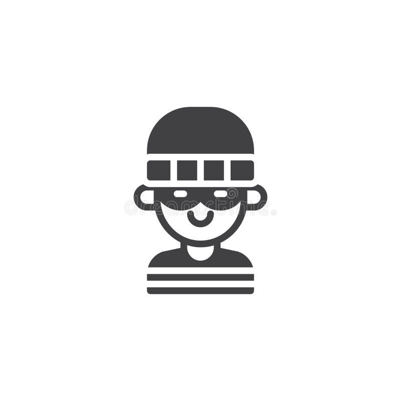 Icono enmascarado del vector del ladrón ilustración del vector