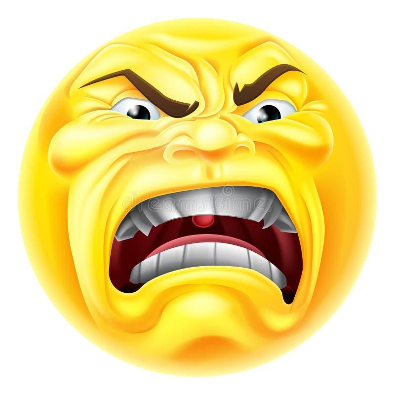 Icono enojado del Emoticon de Emoji stock de ilustración