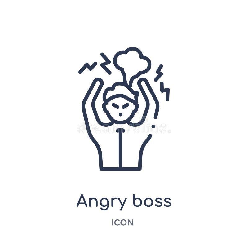 Icono enojado linear del jefe de la colección del esquema del negocio Línea fina icono enojado del jefe aislado en el fondo blanc libre illustration