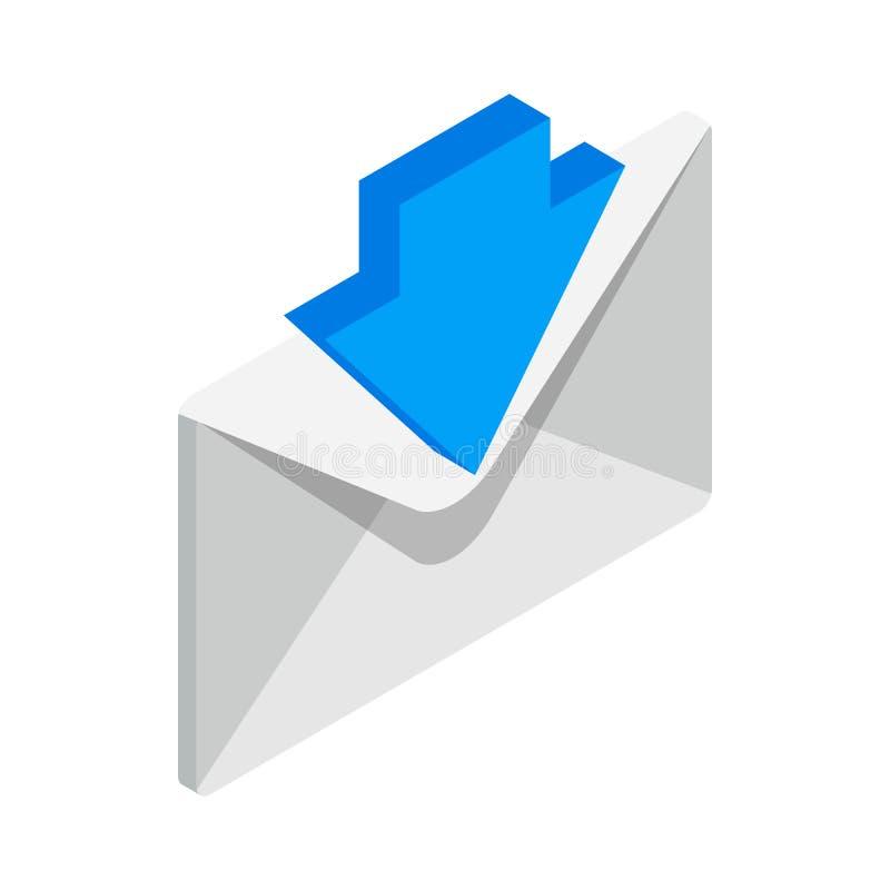 Icono entrante del correo electrónico, estilo isométrico 3d stock de ilustración