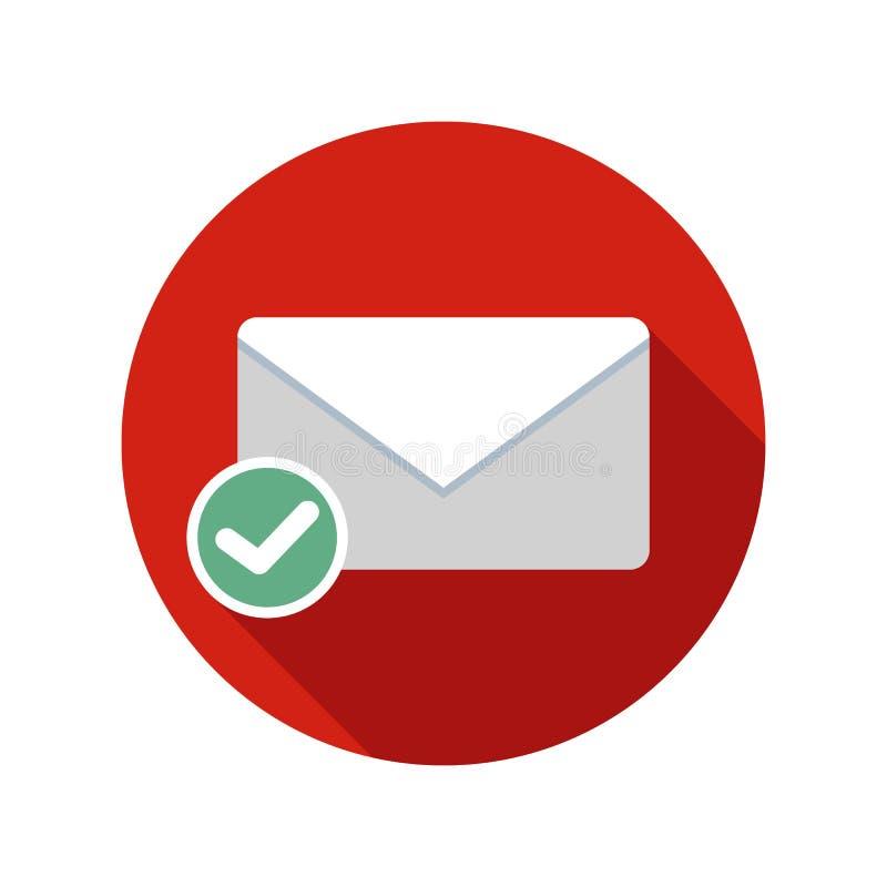 Icono enviado correo Icono del correo electrónico con la sombra larga ilustración del vector