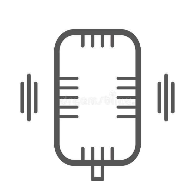 Icono eps10 de la grabación de sonidos de la voz Icono plano del estilo de la muestra del micrófono vector gris eps10 del color d stock de ilustración