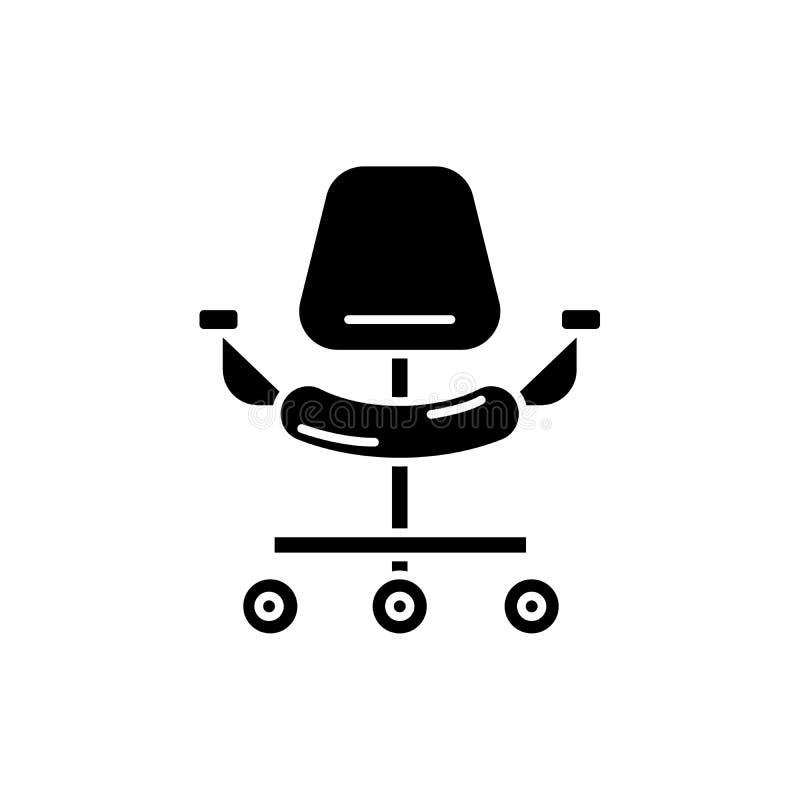 Icono ergonómico del negro de la silla, muestra del vector en fondo aislado Símbolo ergonómico del concepto de la silla, ejemplo ilustración del vector