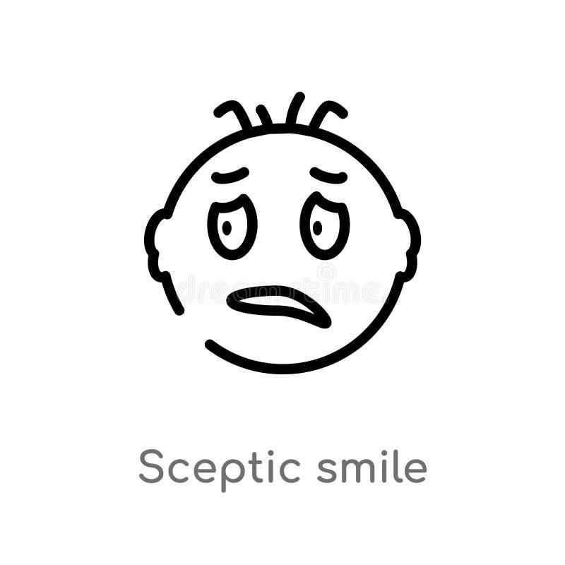 icono escéptico del vector de la sonrisa del esquema línea simple negra aislada ejemplo del elemento del concepto de la interfaz  stock de ilustración