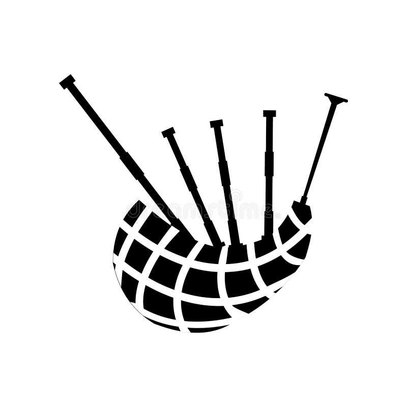 Icono escocés de la gaita stock de ilustración