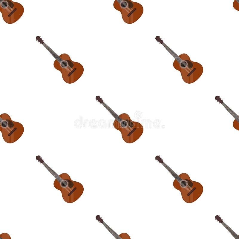 Icono español de la guitarra acústica en estilo de la historieta aislado en el fondo blanco ilustración del vector