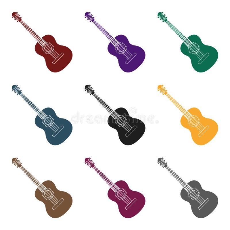 Icono español de la guitarra acústica en estilo negro aislado en el fondo blanco Ejemplo del vector de la acción del símbolo del  ilustración del vector